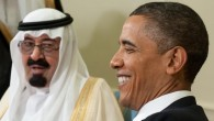 US President Barack Obama smiles alongside King Abdullah of Saudi Arabia during a meeting at the White House in Washington, DC, June 29, 2010 (photo credit: Saul Loeb/AFP)