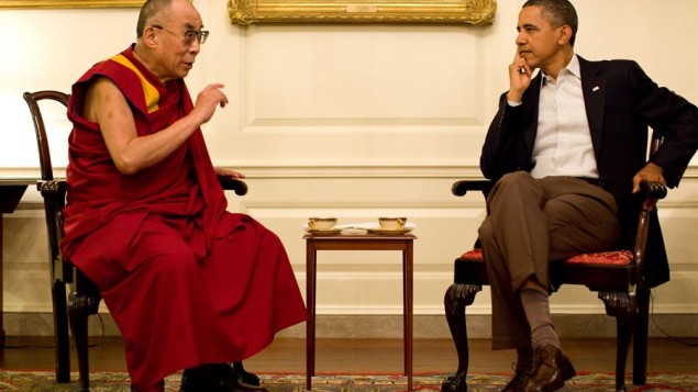 US President Barack Obama, right, and the Dalai Lama during a meeting in Washington on July 16, 2011 (photo credit: CC BY SFT HQ/Flickr)