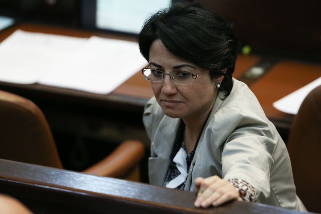 MK Hanin Zoabi of the Arab Balad party seen during a plenum session in the Knesset on April 29, 2013 (photo credit: Yonatan Sindel/Flash90)