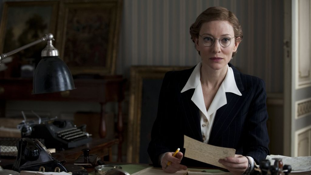 "This image released by Columbia Pictures shows Cate Blanchett in ""The Monuments Men."" (photo credit: AP/Columbia Pictures/Claudette Barius)"