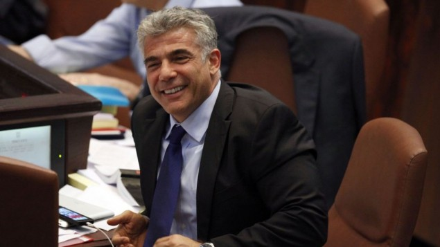 Yair Lapid, à la Knesset (Crédit : Flash 90)