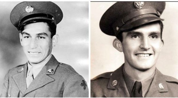 World War II veterans Master Sgt. Manuel V. Mendoza, left, and 1st Lt. Donald K. Schwab. (photo credit: (AP/US Army)