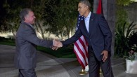 President Barack Obama greets Jordan's King Abdullah II at The Annenberg Retreat at S