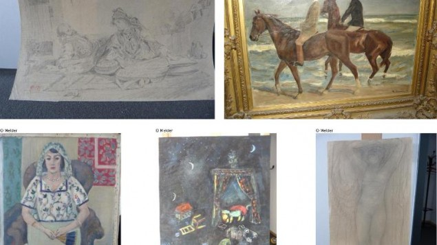 A combination of photos released by prosecutors in Augsburg, Germany on November 12, 2013 show five of the 1,400 paintings believed looted by the Nazis, seized from a Munich flat of Cornelius Gurlitt  (photo credit: Lostart.de/Augsburg prosecutors/AFP/File)