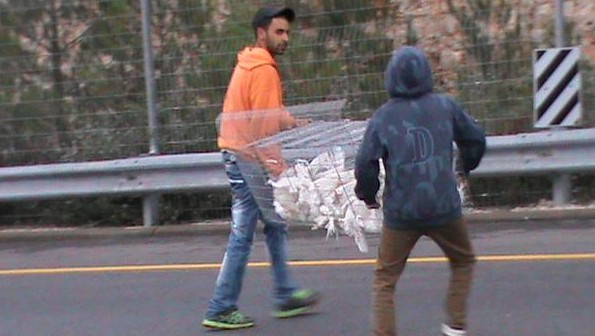 Young men from Nabi Samwil carry chicken cages into the village (photo credit: courtesy/Nawal Barakat)