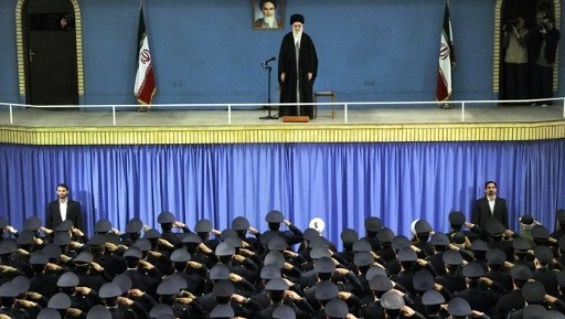 Iranian Supreme Leader Ayatollah Ali Khamenei on stage during a meeting with Iranian air force commanders in Tehran, in a photo released February 8, 2014. (AFP/HO/Iranian Supreme Leader's website)