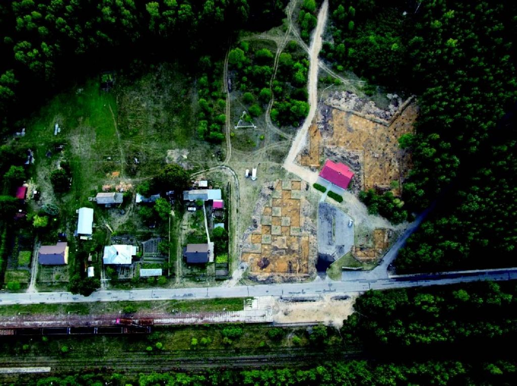 "A 2012 aerial view of the former death camp Sobibor, with excavation ""squares"" clearly visible (photo courtesy: Wojtek Mazurek)"