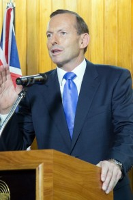 Australian Prime Minister Tony Abbott speaks at a press conference in Port Moresby, New Guinea, Friday, March 21, 2014 (photo credit: AFP/Ness Kerton)