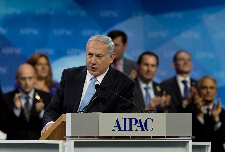 Benjamin Netanyahu finishes his address to the American Israel Public Affairs Committee (AIPAC) policy conference in Washington on March 4, 2014.  (photo credit: AFP/Nicholas Kamm)