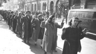Hungarian Jews rounded up in Budapest in 1944. Wikimedia Commons