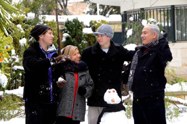 The Netanyahu family, winter 2013 (photo credit: GPO)