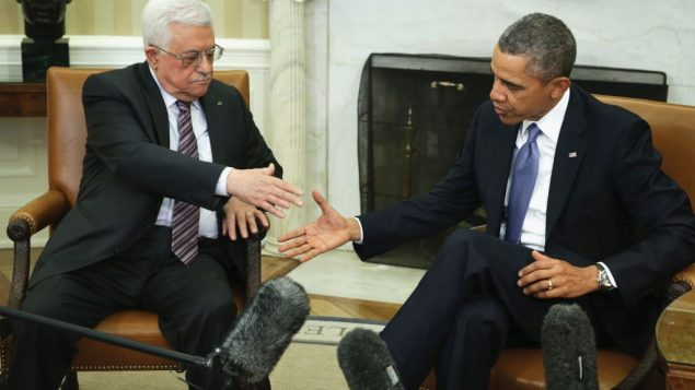 Palestinian Authority President Mahmoud Abbas meets with President Barack Obama Monday at the White House. Getty Images