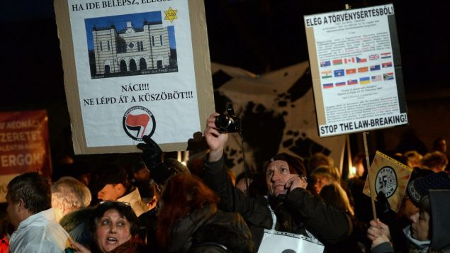 Members of the Hungarian Jewish community and their supporters protest the election of a far-right party. Getty Images