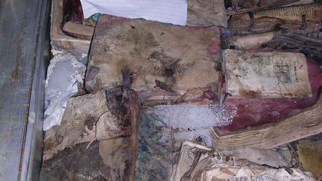 Items recovered from flooded basement of Saddam's intelligence headquarters.  Photo courtesy of National Archives