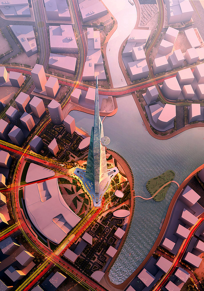 A simulated image of the Kingdom Tower (photo credit: CC BY Forgemind ArchiMedia/Flickr)