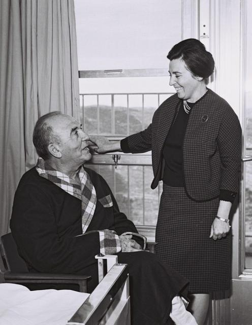 Levy Eshkol (sitting) and his wife, Miriam, at Hadassah Hospital in Jerusalem (photo credit: GPO)