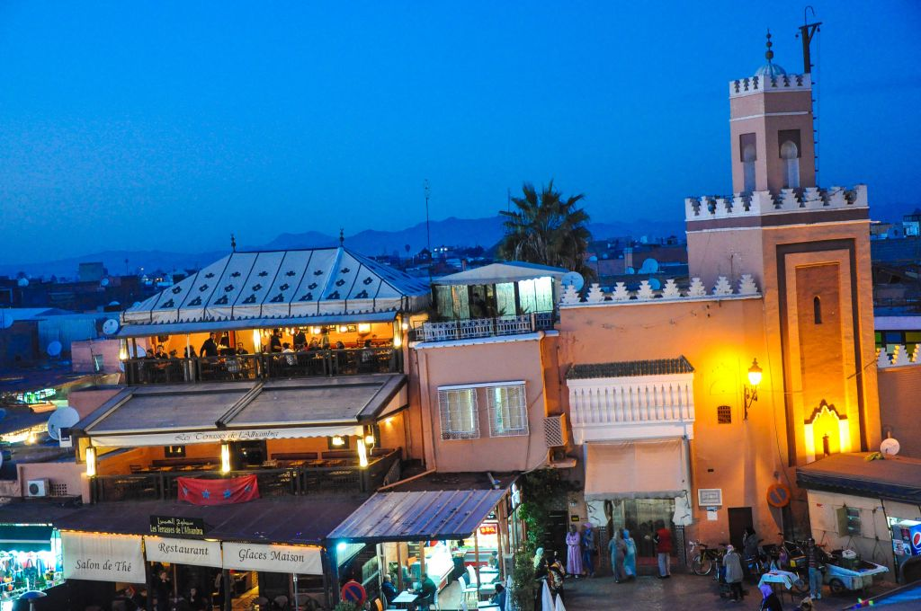 A view overlooking the Jemaa el-Fnaa, or central market square, in Marrakech's old city, a maze that's home to the mellah and various other historic districts. (photo credit: Michal Shmulovich)