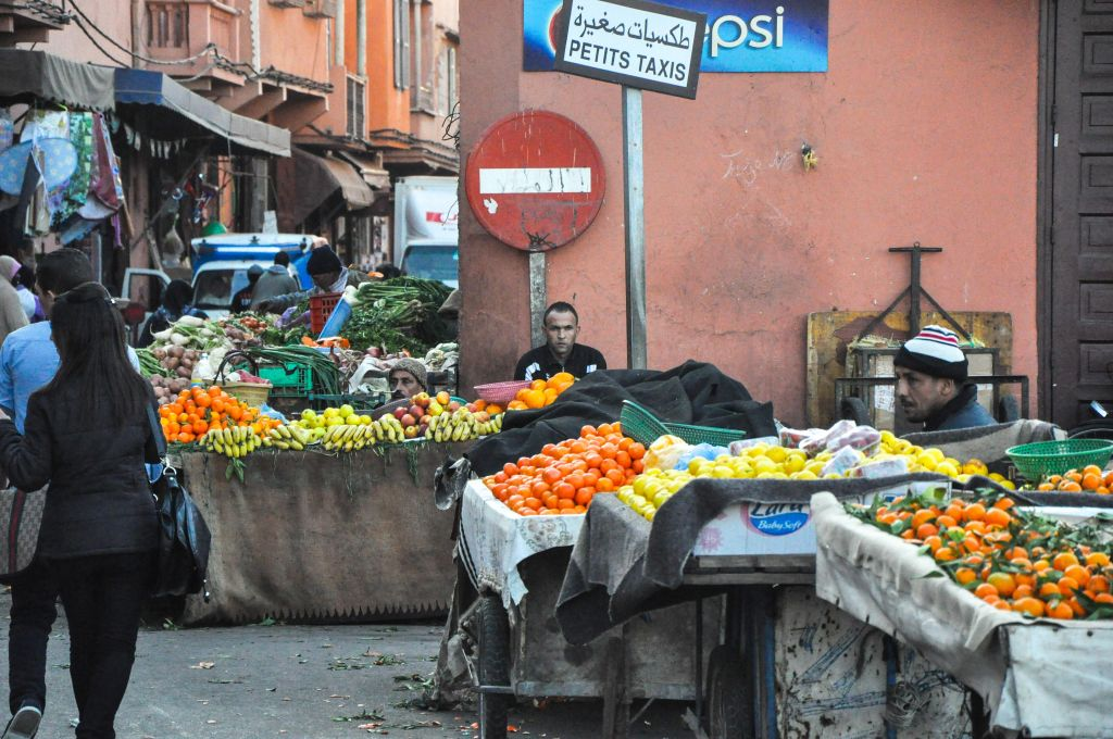 Fruit vendors line the streets of Marrakech's mellah. (photo credit: Michal Shmulovich)
