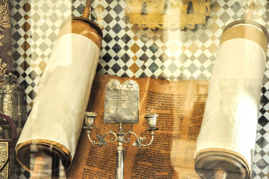 An old Torah scroll on display at the Marrakech Museum. (photo credit: Michal Shmulovich)