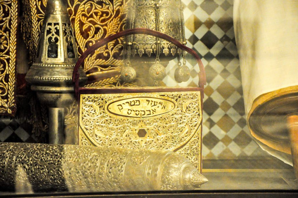 The Marrakech Museum also exhibits Judaica, including old Passover plates, Kiddush cups, and spice boxes. (photo credit: Michal Shmulovich)