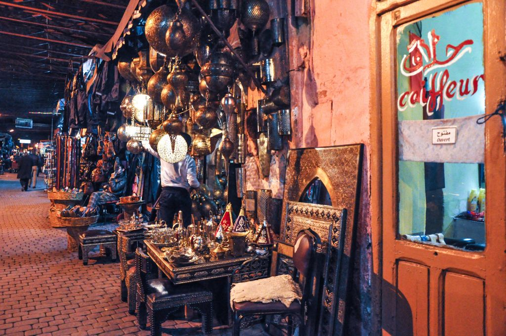 The antique shops and souks that run adjacent to the mellah in Marrakech have Jewish-engraved silver items and pottery with Hebrew writing on it. (photo credit: Michal Shmulovich)