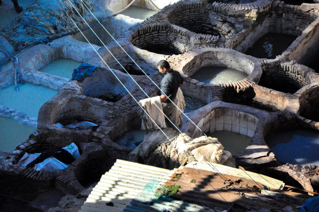 A closer view of the famed tanneries of Fez (photo credit: Michal Shmulovich)