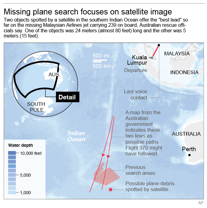 Map shows search areas for missing Malaysia Airlines missing jet. (AP)