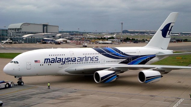Image illustrant un avion de la compagnie Malaysia Airlines (Crédit : CC BY Channelsking/Wikimedia Commons)