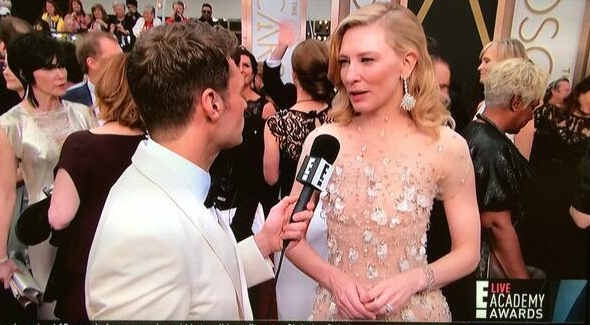 Cate Blanchett, not mentioning her controversial directors' name (courtesy: E! Online.)