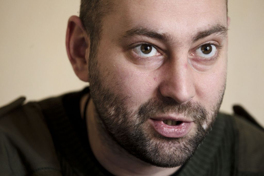 Andriy Tarasenko, a spokesman for the Right Sector, speaks during an interview with The Associated Press at the Dnipro hotel near the Independence Square, Kiev, Ukraine, on March 7, 2014 (photo credit: AP/David Azia)