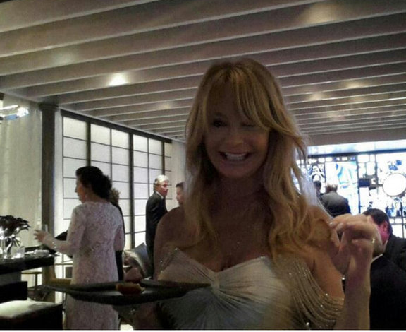 Goldie Hawn in the green room, whose surfaces were made with Israeli-manufactured Caesarstone (Courtesy My Oscars Green Room Twitter pics)