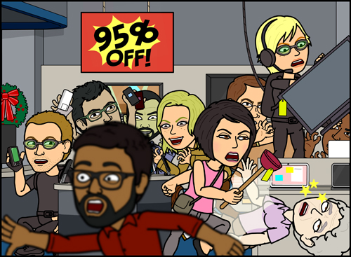A Bitstrips scenario for North America's annual Black Friday. (courtesy Bitstrips)