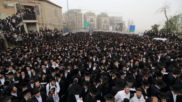 "Participants in Sunday's  rally dubbed the ""million man protest. Yaakov Naumi/FLASH90 via JTA"