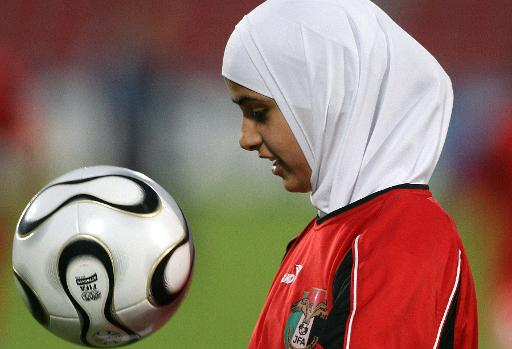 2006 file photo of Jordan midfielder Abeer Al Nahar at a training session at the Al-Arabi Football Stadium in Doha (AFP/File, Toshifumi Kitamura)