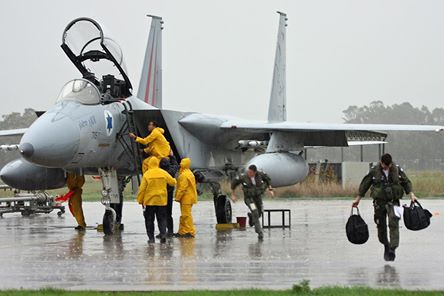 Israel Air Force pilots operating in the rain this week (photo credit: IAF/ Facebook)