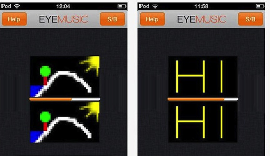 Une capture d'écran de l'application EyeMusic (Crédit : Autorisation de l'application)
