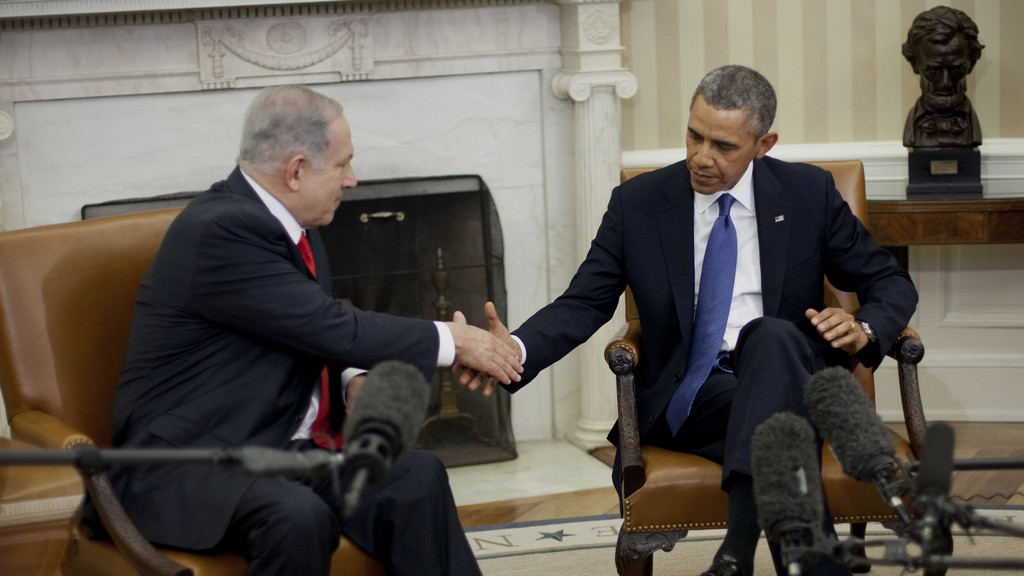 US President Barack Obama and Prime Minister Benjamin Netanyahu shake hands in the Oval Office of the White House in Washington, Monday, March 3, 2014 (photo credit: AP/Pablo Martinez Monsivais)