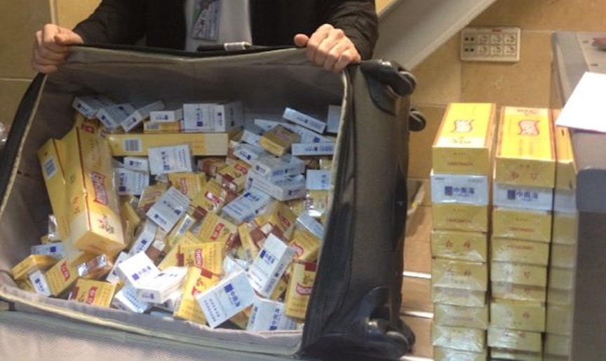 Undeclared cigarettes seized by Customs agents at Ben Gurion Airport (Photo credit: Courtesy)