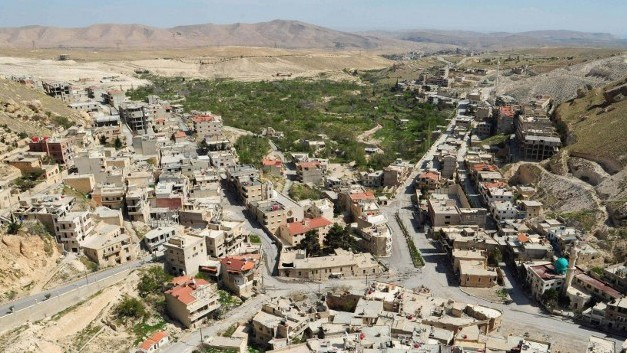 A general view of the ancient Christian town of Maaloula, northeast of Damascus, after government forces took control of the town from rebel fighters on April 14, 2014 (Photo credit: STR/AFP)