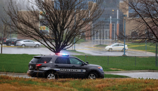 An Overland Park, Kan., police vehicle in front of the Jewish Community Campus of Greater Kansas City. Getty Images