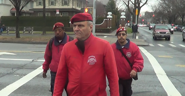 """The Guardian Angels patrol in Brooklyn after string of """"knockout attacks.""""  Adam Dickter"""