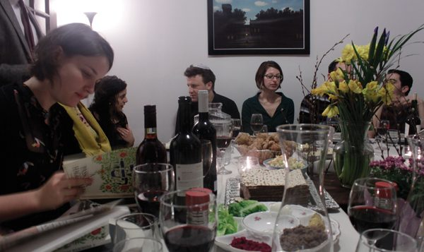 "The seder table for Israeli ""orphans"" at Elad Kabilio's apartment in Hell's Kitchen. Elad Kabilio"