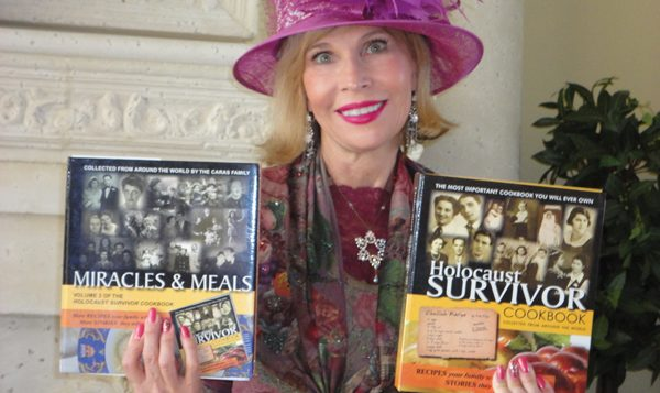 Cookbook author Joanne Caras displays other Shoah-inspired recipe books.