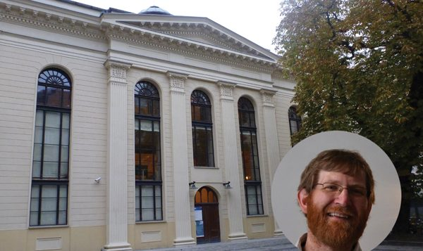 Rabbi Tyson Herberger, inset, led the communal seder at White Stork Synagogue in Wroclaw. Wikimedia Commons