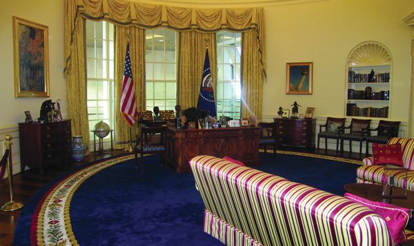 A replica of President Bill Clinton's Oval office in Clinton Center. Courtesy of Little Rock Convention and Visitors Bureau