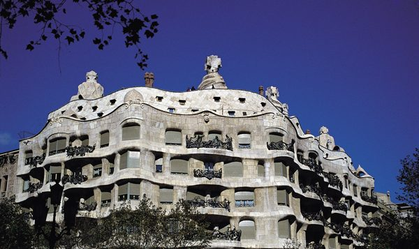 "Gaudi's Casa Mila, the most famous of the ""cut-corners"" buildings in Cerda's Eixample neighborhood. Wikimedia Commons"
