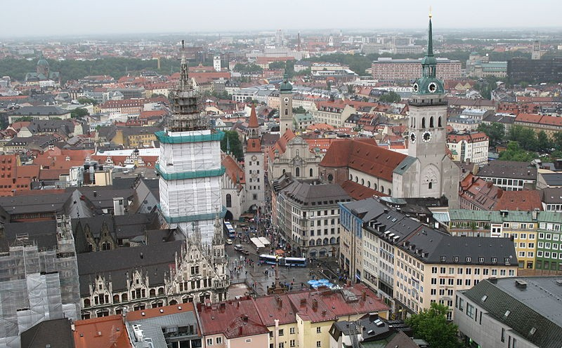 Marienplatz seen from the Church of Our Lady, Munich, Germany (photo credit: Andrew Bossi/Wikimedia Commons/File)