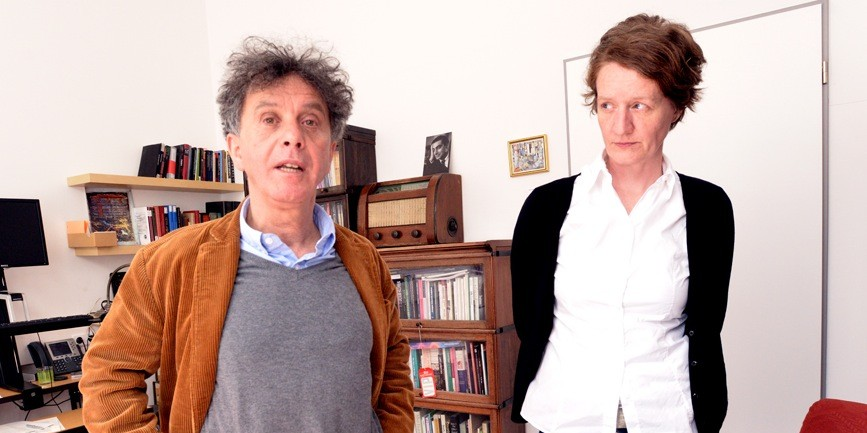 Istvan Rev, left, and Gwen Jones of the Open Society Archives in Budapest, March 27, 2014. (photo credit: JTA/Cnaan Liphshiz)