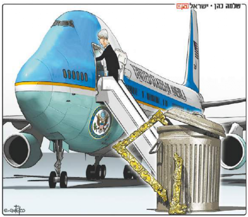 Screen capture of Israel Hayom's editorial cartoon on April 3, 2014.