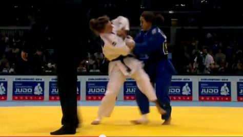 Illustrative screen shot of Gili Cohen (blue) competing. (photo credit: YouTube screen capture)